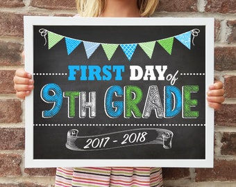 "9th Grade, Back to School Poster, DIGITAL Printable File, FIRST Day & LAST Day includ. 4 Sizes: 8x10"", 11x14"", 16x20"", 20x30"" includ."