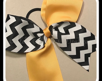 "2 1/4"" Black, White and Yellow Cheer Bow ~ Softball Bow ~ Volleyball Bow"