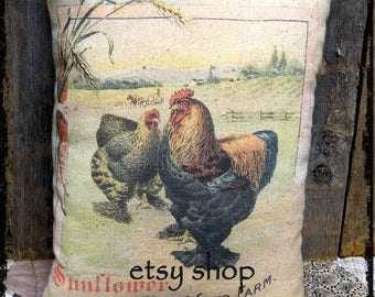 Handmade Sunlower Poultry Feed Chicken Feedsack Style Pillow or Panel