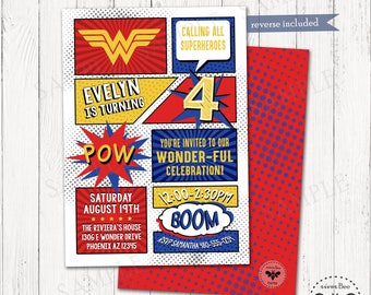 Comic Book Birthday Invitation Printable, Girl Superhero Birthday Party Invite, Digital Wonder Woman Inspired Invitation, Superhero Birthday