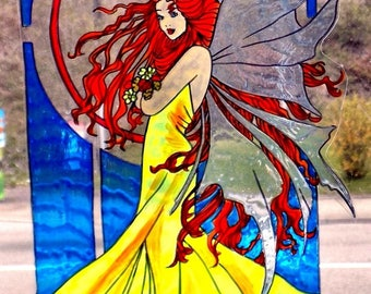 wicoart sticker window cling faux stained glass art nouveau WIND FAIRY