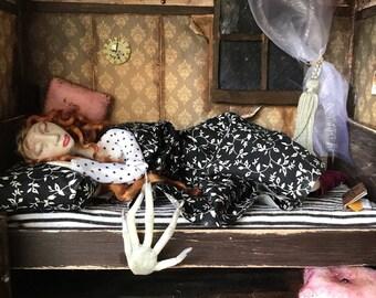 The creeper and the sleeper ooak doll diorama creepy horror doll box scary doll