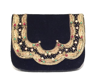 Vintage Black Velvet Clutch,Made in India,Zardozi Hand Embroidered,Bead Embellished,Metallic Gold Threads,Antique Purse