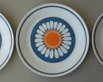 Dinner plate set of three 3 rare Daisy vintage Turi design Figgjo Flint Norway mid century modern plate 1960s Scandinavian