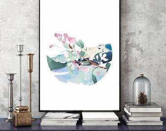 Thriving Branch... art print-poster-20x30cm-30x40cm-wall decor-illustration-romantic-flower-watercolour-pastel