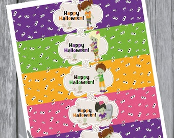 halloween Water Bottle Labels, Wrap,  Party Favors,  Birthday,  Printable Instant Download