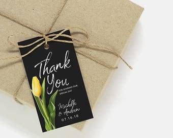Thank You Tags   Printable thank you tags, favor tags, wedding card template, printable wedding party tag, favor tag, thank you card MD-01