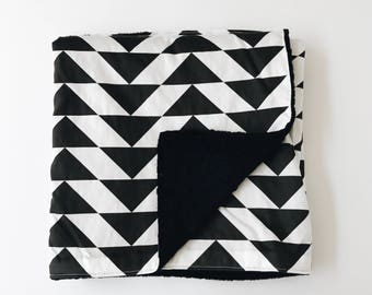 Organic Cotton Stroller Blanket with Minky Backing - Flying Geese Black and White