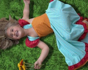 Girls party dress, First birthday dress, Ruffle skirt, Flutter sleeve dress, Red and yellow, Teal girls dress, Baby boutique dress