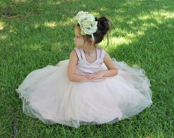 Pink flower girl dress, Wedding party dress, Recital dress, Communion dress, Birthday dress, Blush pink dress,Blush pink dress