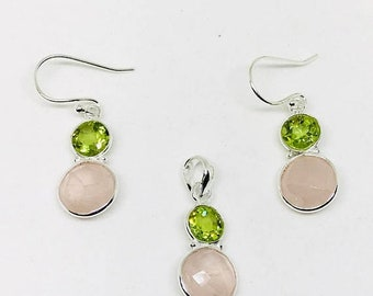 10% Rose quartz, peridot earring and pendant/necklaces set in sterling silver 925. Natural authentic stones.