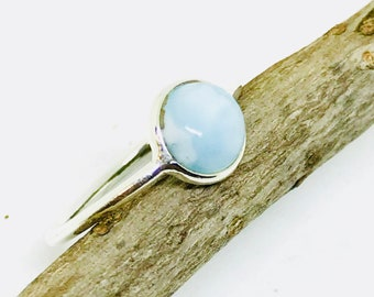 Larimar ring set in sterling silver (92.5). Size- 5, 6, 7, 8. Natural authentic larimar stone .