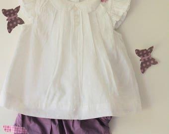 Baby girl ruffles small plum pants set