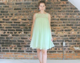 60's Vintage || Mint Green || Trapeze Swing || Lace Night Gown || Vintage Nightie || 0425