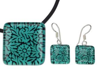 Green Oaxacan Birds and Flowers on Art Glass Jewelry Set 'Oaxaca Wonder'
