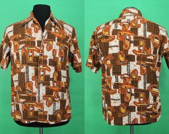 Hawaiian Shirt.....60's Outrigger/Catamaran Geo Print Hawaiian Shirt
