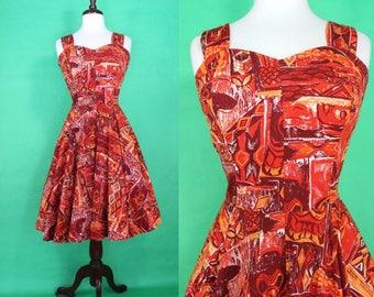 50's Hawaiian Dress......50's Royal Hawaiian Tiki Print 50's Sundress Hawaiian Dress Tiki Dress Luau Dress Size Large