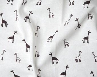 Brown Giraffe printed tshirt jersey knit fabric by the yard, knit fabric for babies, giraffe knit fabric, printed stretch knit fabric