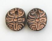 Ceramic Orange Beads for Earrings - Sun beads, focal beads earrings, craft earrings, jewelry, bohemian earrings, matte ceramic beads