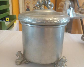 beautiful old pewter mug with lid 15 cm high - clearance sale -.