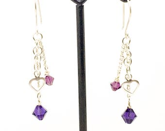 Swarovski chain drop earrings, heart charm earrings, dangly earrings