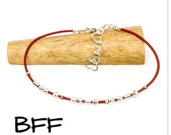 BFF - Sterling silver and leather Morse code bracelet - hidden message - Gifts for friends