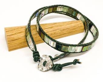 Leather wrap bracelet - surfer style wrap bracelet - Swarovski button bracelet