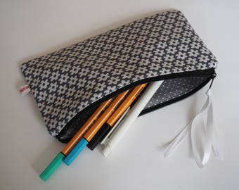 Pencil case, pencil workbook anthrazit white flowers