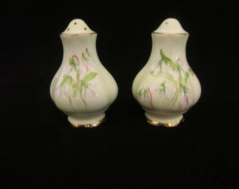"Royal Albert Salt & Pepper Shakers- Mint Green ""Laurentian Snowdrop Flower""pattern. Made in England, gold gilded edges. Vintage Collectible!"