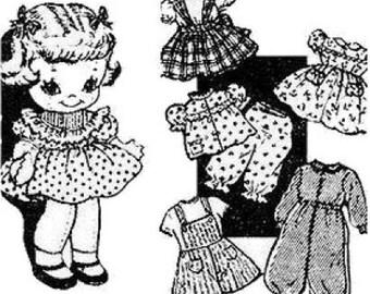 "9"" Laura Wheeler Cloth Doll Pattern with Wardrobe"