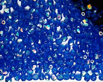 300 Sapphire AB coated 6mm, Preciosa Czech Fire Polished Round Faceted Glass Beads, Czech Glass Fire Polish Beads, loose blue beads