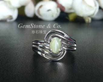 Natural Oval Shape Crysoberyl Cat's Eye Ring 925 Sterling Silver Ring Sharp Chatoyancy Cat's eye Effect  Nice Gift Ring(US 6.5)