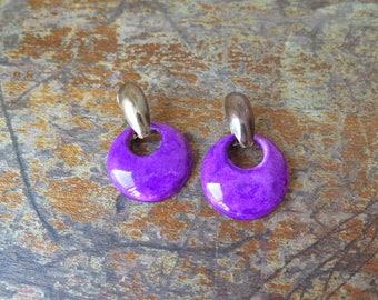Earrings purple or, Boucles d'oreilles mauve violet et or vintage