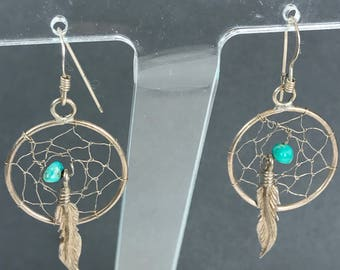 Vintage Sterling Silver Dream Catcher Turquoise Earrings