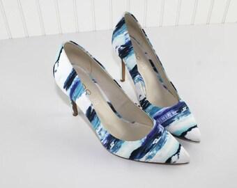 Aldo Blue Water Print High Heel Pump Shoes Beach Ocean Spring Prom Formal Shoes