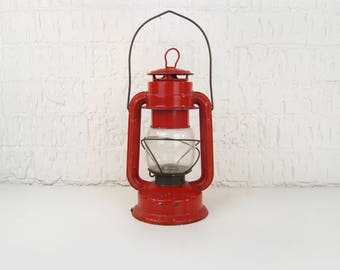Vintage Red Chalwyn Tropic England Lantern | Camping Hanging Lamp | Pendant Light Battery Operated | Industrial, Rustic, Nautical Home Decor