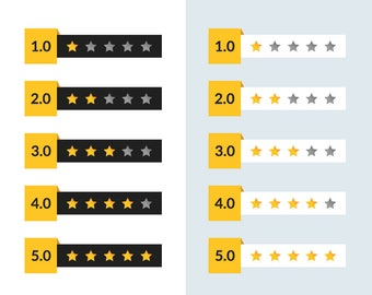 Star Review Elements / Vector and PNG / Webshop Website Online Star Review Clipart Star Feedback Mobile Gold Black White / Digital Download