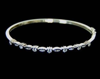 Womens Vintage Estate 18K White Gold Bracelet w/ Diamonds 9.8g E1113