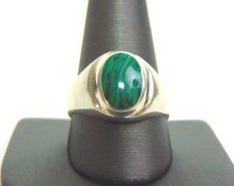 Mens Sterling Silver Ring w/ Malachite 10.6g E3738