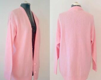 Vintage 80's Pastel Pink Chucky Knit Cardigan Sz M/L