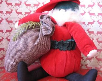 Jolly Santa Claus with Bag, Cloth Santa with Bushy Beard - 1970's