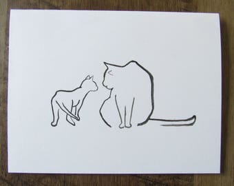 Baby kitten meets big cat/ greeting card/ birthday card/ cat lover card/ cat illustration/ kitten card/ handmade card/ kitten painting/ art