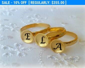 SALE 10%, 14K Gold Engraved Ring