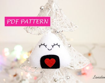 Onigiri DIY felt ornament, Christmas tree decoration, easy step by step instructions, sushi felt ornament, handmade is better Christmas gift