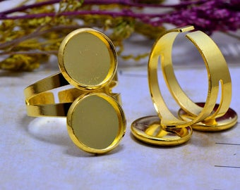 Set of 2 stands 12mm Golden (T312) cabochon ring