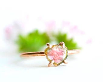 OOAK. Watermelon Tourmaline Slice Ring. Tourmaline Ring. Pink Tourmaline Ring. Pink Watermelon Tourmaline Slice Ring.