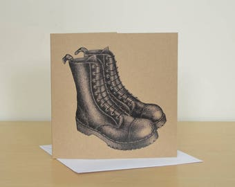 Black boots greetings card. Recycled blank card. Big black boots graphic illustration. Recycled greetings card with Black Boots.