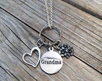 Grandma Necklace, Charm Necklace, Personalized Necklace, Heart Necklace, Necklace, Love Necklace, Gifts for her, Gifts for Grandma