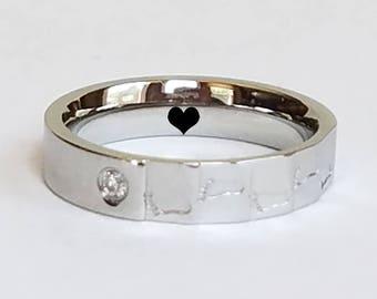 Womens Ring, Footprint ring, Custom Ring, Personalized Ring, Titanium Ring