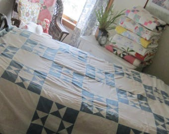 Beachy Blue Vintage Ohio Star Quilt TOP 82 X 82""